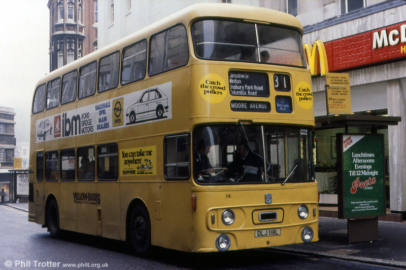 Bournemouth 118 (DLJ 118L), a 1973 Daimler Fleetline/Alexander H43/31F.