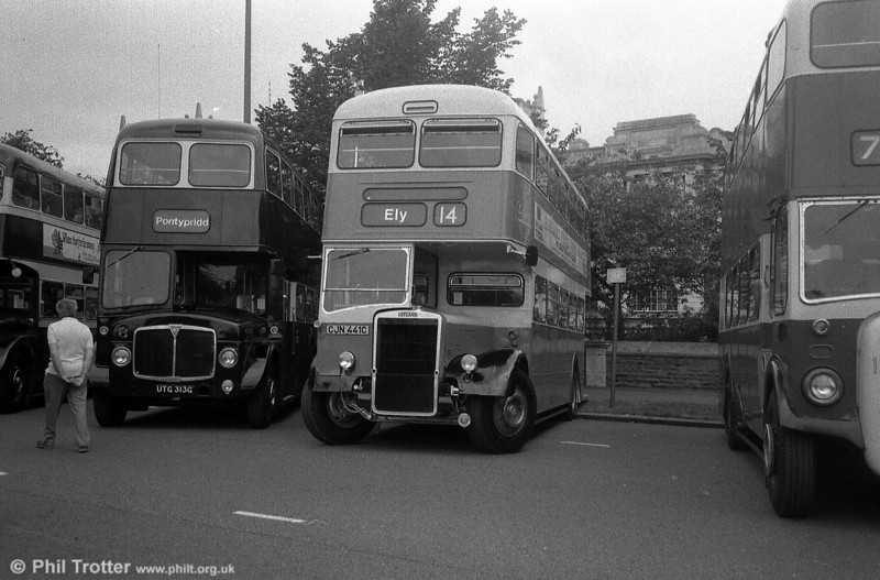 Southend 341 (CJN 441C), a 1965 Leyland PD3/Massey H38/32R, seen in Cardiff.