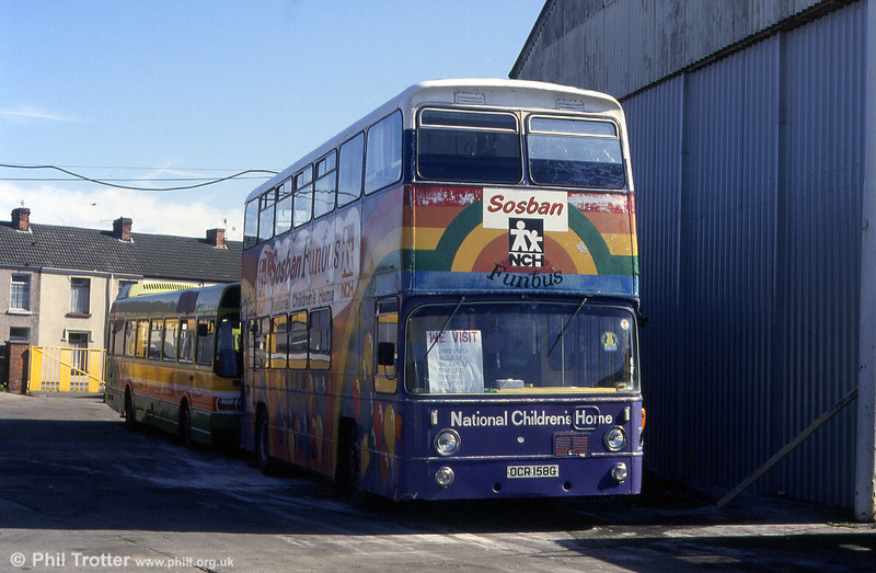 Former Southampton 114 (OCR 158G), a 1968 Leyland Atlantean PDR1/East Lancs H45/31F, seen in use as a playbus and parked at the South Wales Transport depot at Llanelli in June 1993.