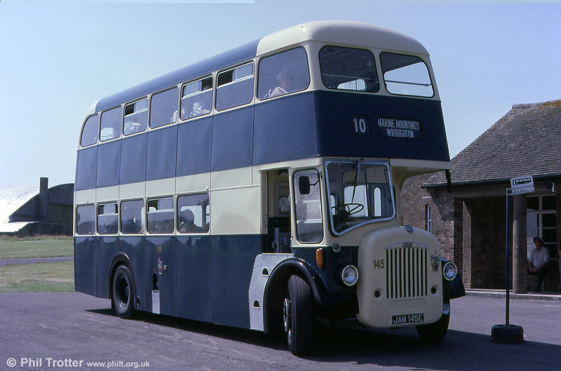 Former Swindon Corporation JAM 145E is a 1967 Daimler CV6G-30/Northern Counties H30/40F. Photographed at an open day at Wroughton Airfield in 2001.