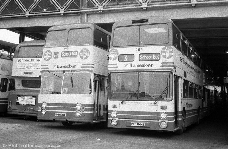 Viewed from the other side, Thamesdown 199 (UMR 199T) a 1978 Leyland Fleetline/ECW H43/31F and 206 (PTD 644S), a former Lancashire United Leyland Fleetline/Northern Counties H43/32F.