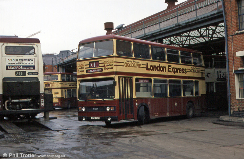 76 (RMO 76Y), one of Reading's 1983 Leyland Titans with CH39/27F bodywork for use on the X1 'Goldline' service to London, photographed in March 1984.
