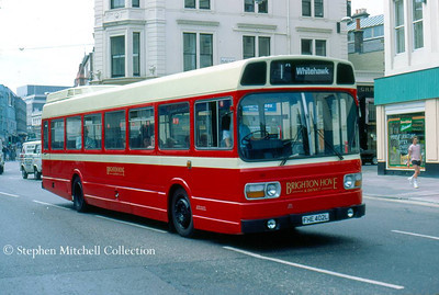 Brighton & Hove Leyland National 145 (FHE402L), originally Yorkshire Traction 402, seen here in Castle Square in Brighton in traditional livery..