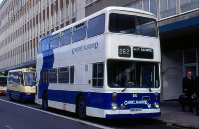 Cardiff Bluebird Leyland Atlantean/Roe 63 (XWG652T), formerly South Yorkshire PTE 1652.