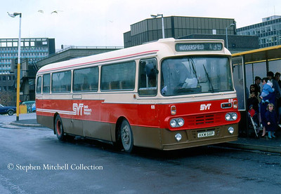 South Yorkshire's Transport Alexander bodied Leyland Leopard 68 (KKW68P) in Sheffield Central Bus Station.