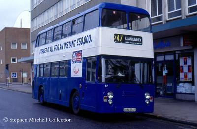 Cardiff Bluebird 67 (ONN574P), an ECW bodied Leyland Atlantean, ex Trent 574.