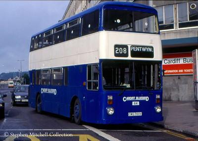 Cardiff Bluebird Leyland Atlantean/Roe 64 (CWG760V), formerly South Yorkshire PTE 1760.