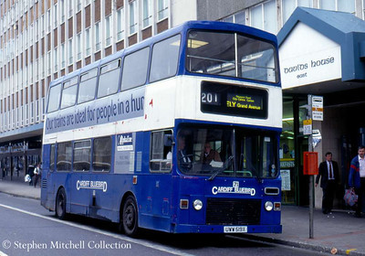 Cardiff Bluebird MCW Metrobus/Alexander 71 (UWW519X), ex West Yorkshire PTE 7519.