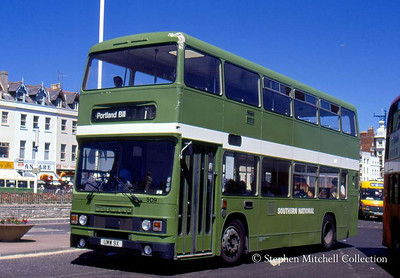 Southern National Leyland Olympian/Roe 509 (UWW9X), ex West Yorkshire PTE 5009, in Weymouth.