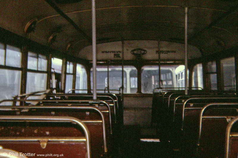 Interior, upper deck of Cardiff trolleybus 216 at Way's in 1974. 216 (DBO 476) was a 1948 BUT 9641T/East Lancs H38/29R.