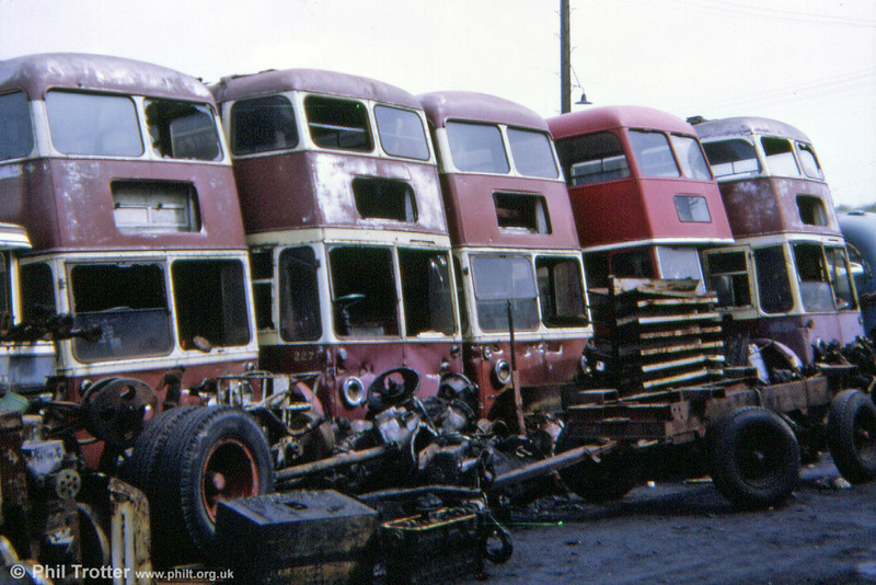 A line-up of Cardiff trolleys in 1973. In many ways there were parallels with Woodhams locomotive scrapyard at Barry...except that very few, if any, of the inmates of Way's were ever to see further service.