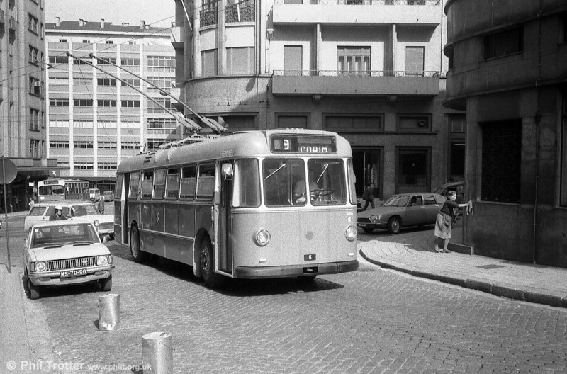 Trolleybus operation in Oporto began in 1959 with the introduction of 20 BUT vehicles with UTIC B32D bodies built under licence from Park Royal. No. 5 was one of the original batch and no. 1 has been preserved. These Oporto photographs were all taken in July 1983.