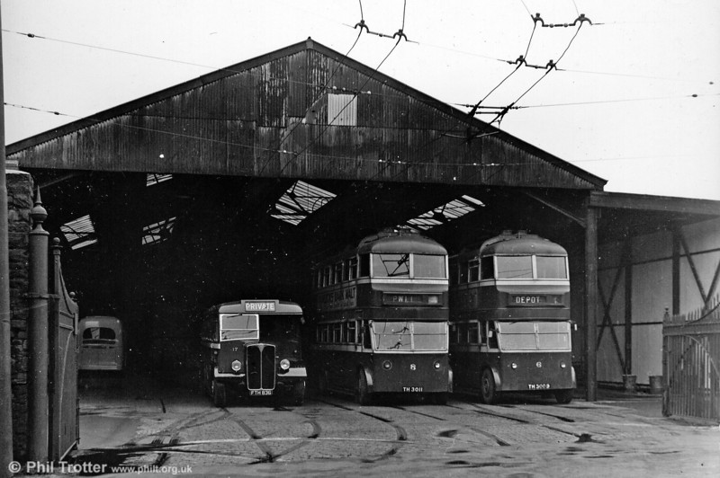 The Llanelly trolleybus system closed in 1952, but this archive view of the depot includes a pair of Leyland TB2/Leyland H30/26R 6 and 8 (TH 3009/11) which were new in 1932 and 1933.