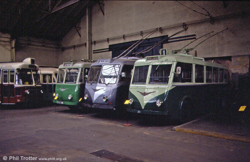Three French provincial trolleybuses at the Paris Transport Museum, St. Mande, with (left to right) St. Etienne 65 (a VCR), Grenoble 637 (a 1956 Vetra VBF) and Poitiers 21 (a 1939 Vetra CS 35).
