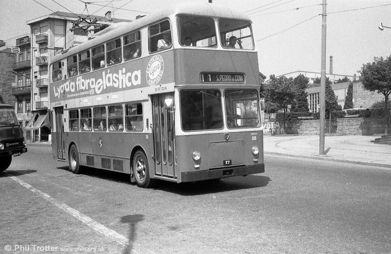 Lancia double decker 111 heads east out of the city for S. Pedro Da Cova.