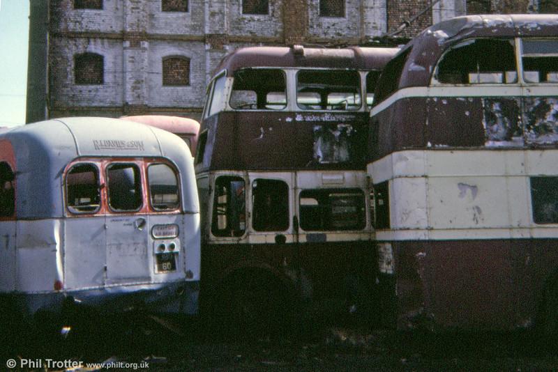 An unidentified Cardiff trolleybus waits its fate in the company of former Western Welsh Leyland Tiger Cub/Weymann B44F 1060 (JBO 60). 1974.
