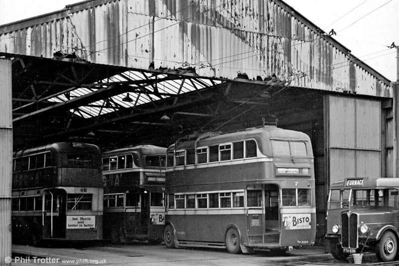 Another depot view, this time from the rear of the running shed showing the back of 7 (TH 3010), a 1932 Leyland TB2/Leyland H30/26R.