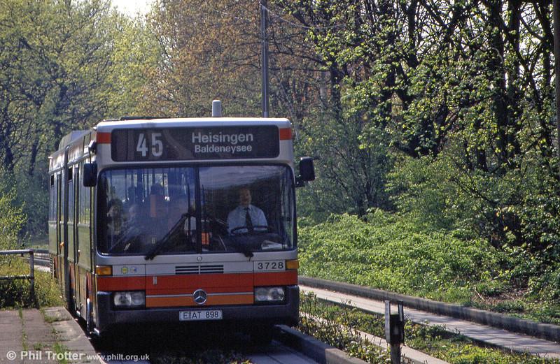 EVAG, Essen 3728 in leafy Fulerumer Strasse on 19th April, 1994.