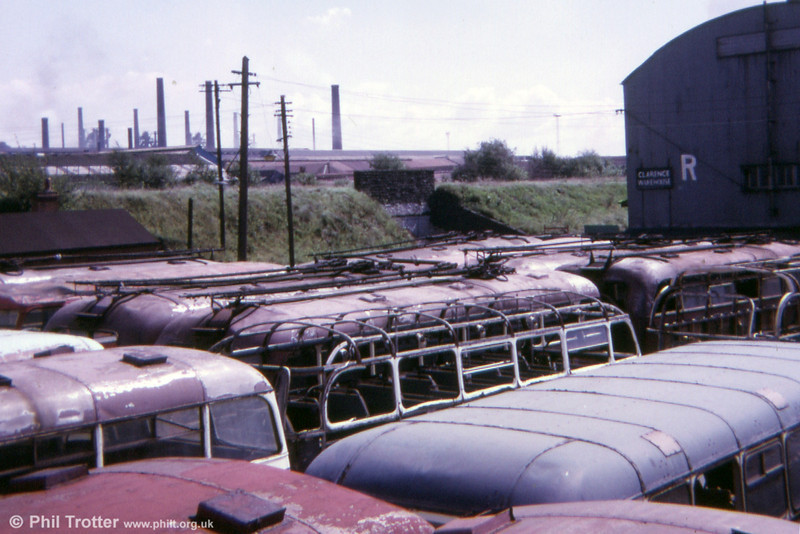 The scrapyard of Way's at Splott, Cardiff was the final resting place of many ancient buses, including a number of Cardiff's trolleybuses, as seen here in 1974.