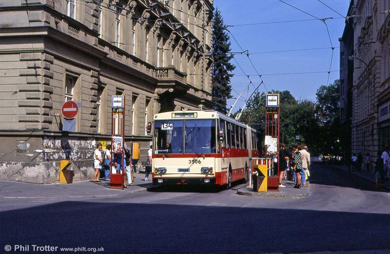 Modern Škoda 14Tr trolleybus 3506 at Joštova, Brno in the Czech Republic on 17th August 1992.