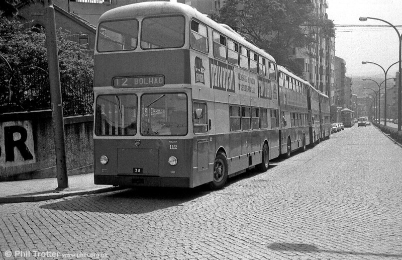 Off-peak, a line of double deckers await their next duties. The inability to use trolleybuses on other work when not required on their specified routes was no doubt a major factor in the demise of many trolleybus systems.