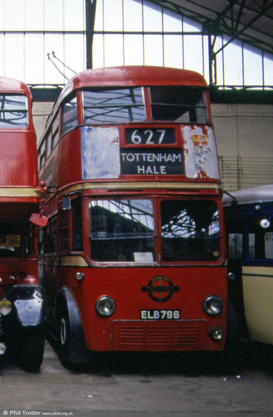 London's forgotten trolleybus; LT 796 (ELB 796) a 1938 Leyland LPTB70/MCCW H40/30R photographed at the Paris Transport Museum, St. Mande in 1984. (Postscript: the bus has since returned to the UK for restoration to working order).