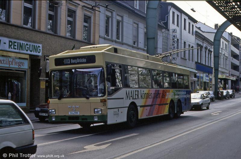 Solingen MAN SL172 six-wheeler 26, spoiled by adverts at Vohwinkel, 21st April 1994.