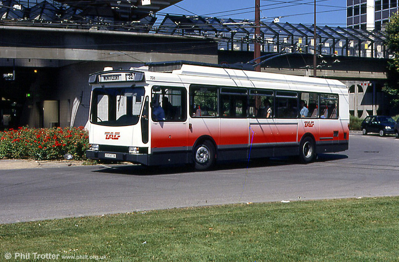 Grenoble ER100 trolleybus 731 in what appears to be 'Barbie 2' livery (!), photographed in August 1993.