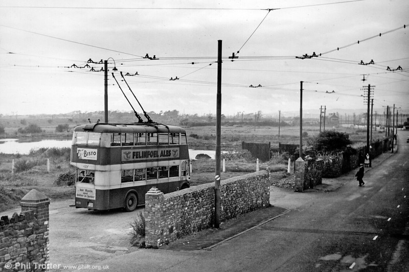 A view of the Llanelly trolleybus terminus at Loughor with 47 (CBX 913), a 1946 Karrier W/Park Royal H30/26R.