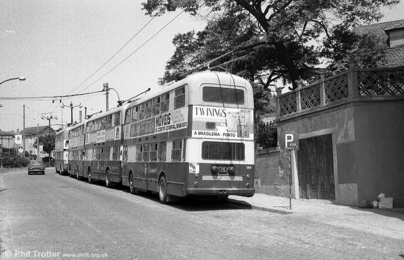 Tailpiece: a rear view of a line of double deck trolleybuses in Oporto. Alas, this is a scene no longer to be witnessed anywhere since the Oporto double deck trolleys were withdrawn in 1995. R.I.P.