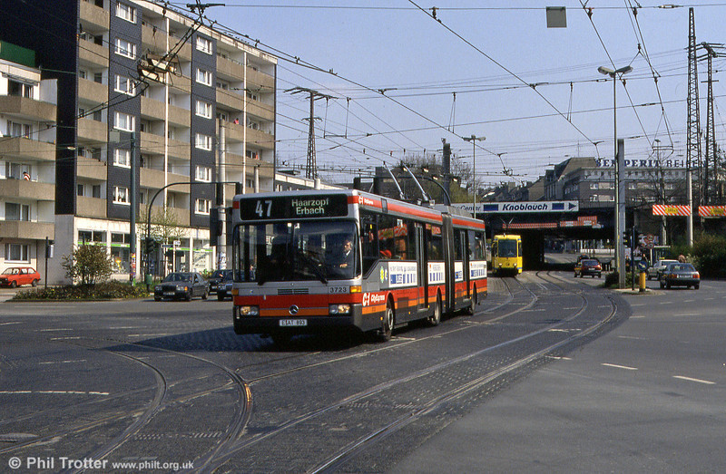 EVAG Mercedes O405GT 3723 running as a trolleybus and sharing the same alignment as the trams at Volkshochschule on 19th April, 1994.
