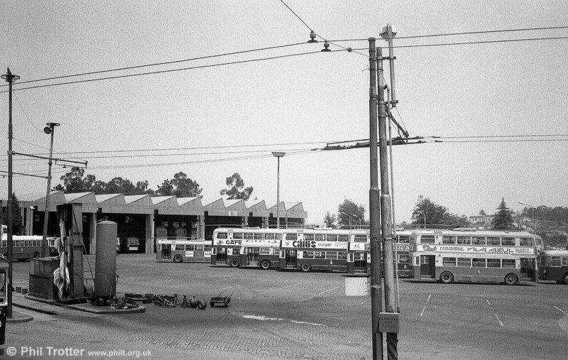 A general view of the main Oporto trolleybus depot at Areosa which opened in October 1968. The network is operated by Servicos de Transportes Colectivos do Porto (STCP).