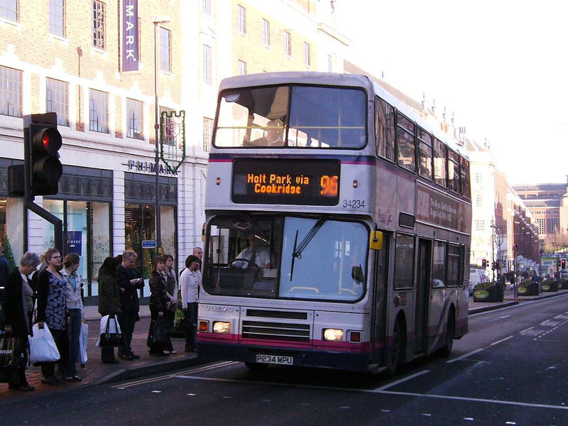 First 34234 (P234MPU), an Alexander bodied Volvo Olympian, The Headrow, Leeds, 16th December 2006