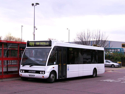 Stringers operate two routes in the Castleford area. Optrare Solo MX56NLM is seen in Castleford Bus Station on 30th November 2006