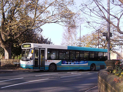 Snapped in West Bretton and turning onto a section of road no longer served is Arriva Yorkshire 469 (S469GUB), a DAF SB220 with Alexander bodywork