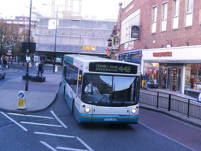 Also from the top deck of a bus is Arriva Yorkshire 469 (S469GUB) again, in Kirkgate, Wakefield