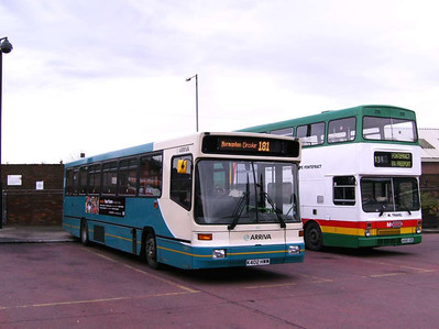Arriva Alexander bodied Volvo B10B 402 (K402HWW) is seen parked up in Castleford Bus Station, with an M travel Metrobus alongside