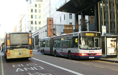First 10023 (T106VWU), a Wright bodied Volvo B10LA on Park Row, Leeds, 16th December 2006