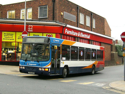 Stagecoach 21023 (P511UUG) is a Wright bodied Volvo B10B, Pontefract, 30th November 2006