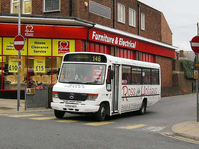 Ross Travel 3 (Y753HVY), a Plaxton bodied Mercedes Benz 0814 departing Pontefract Bus Station on 30th November 2006