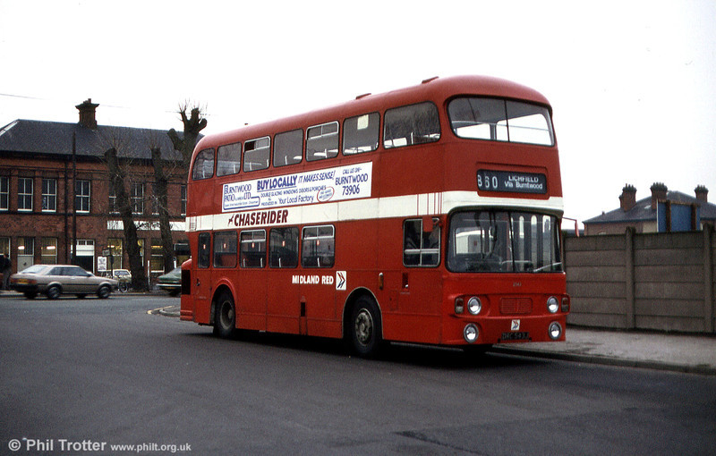 Midland Red 2543 (DRC 543J) was a 1971 Daimler Fleetline/Alexander H44/33F acquired from Trent in 1981.