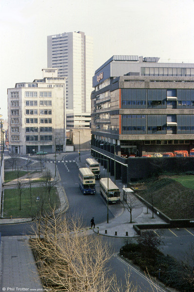 A bird's eye view of several WMPTE vehicles in an unusually quiet area of Birmingham City Centre.