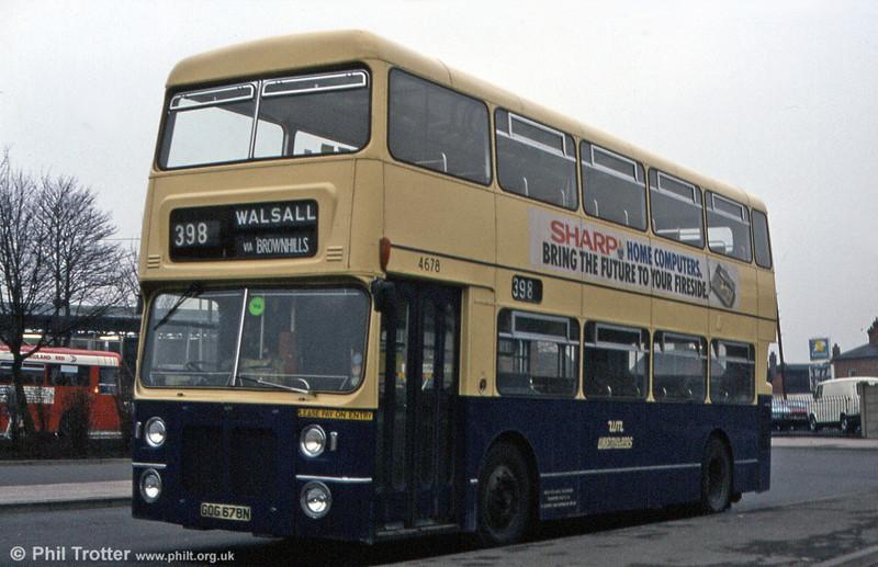 Bristol VRTSL2/Metro-Cammell H43/33F 4678 (GOG 678N). Lichfield, February 1984.