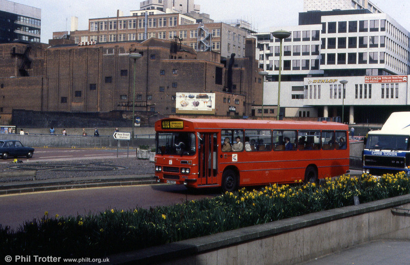 Midland Red (North) 1706 (A706 HVT), a 1984 Leyland Tiger/Duple Dominant B51F photographed in Birmingham when still new.
