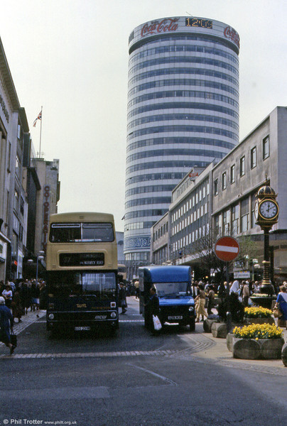 Birmingham's Rotunda towers over the City centre in this view of Metrobus 2239 (GOG 239W).