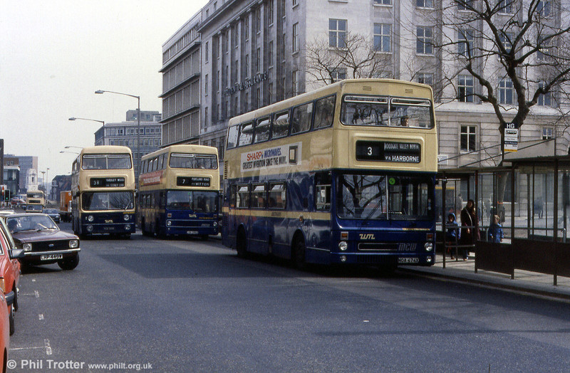 busy scene in Colmore Row, Birmingham with Metrobus 2474 (NOA 474X) to the fore.
