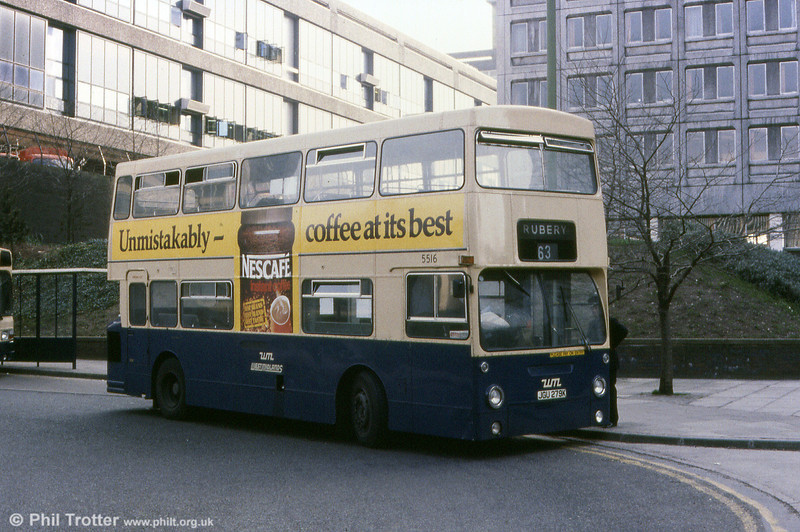 One of a large number of former London Transport DMSs purchased in 1979/80, WMPTE 5516 (JGU 279K) was formerly LT DMS 1279. The bus remained with WMPTE until 1984, after which it was dispatched to Barnsley for scrap.