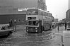 4068 (YOX 68K), a 1971 Daimler Fleetline/Park Royal H43/33F splashes through floodwater in Birmingham City Centre.