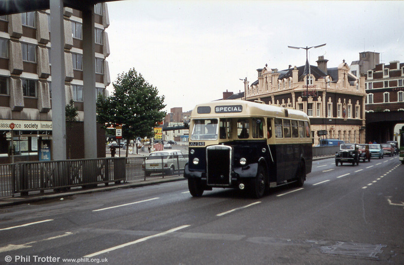 Birmingham 2245 (JOJ 245), a Weymann B34F bodied Leyland Tiger PS2/1 built in 1950 for Birmingham Corporation and seen on its way to a vintage rally in Bristol.