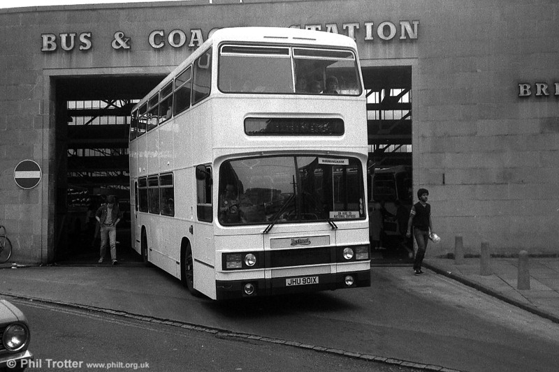 Seen when new in plain white, 9502 (JHU 901X) was a 1982 Leyland Olympian/Roe H47/29F. It is seen leaving Marlborough Street on a National Express duplicate service to Birmingham.